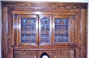 Vintage Style Oak Cabinet with Stained Glass