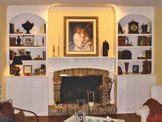 Traditionally Styled Mantle and Bookcases