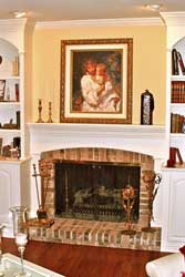 Detail of Traditional Painted Mantle and Bookcases