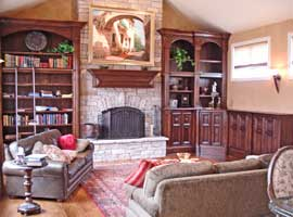 Tuscan Style Mantle and Bookcases