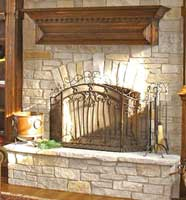 Tuscan Style Stone and Oak Mantle
