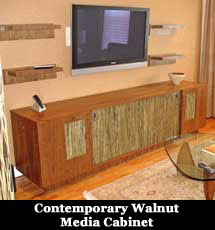 Contemporary Walnut Media Cabinet