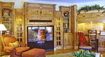 Antique Pine Media Center and Cabinets